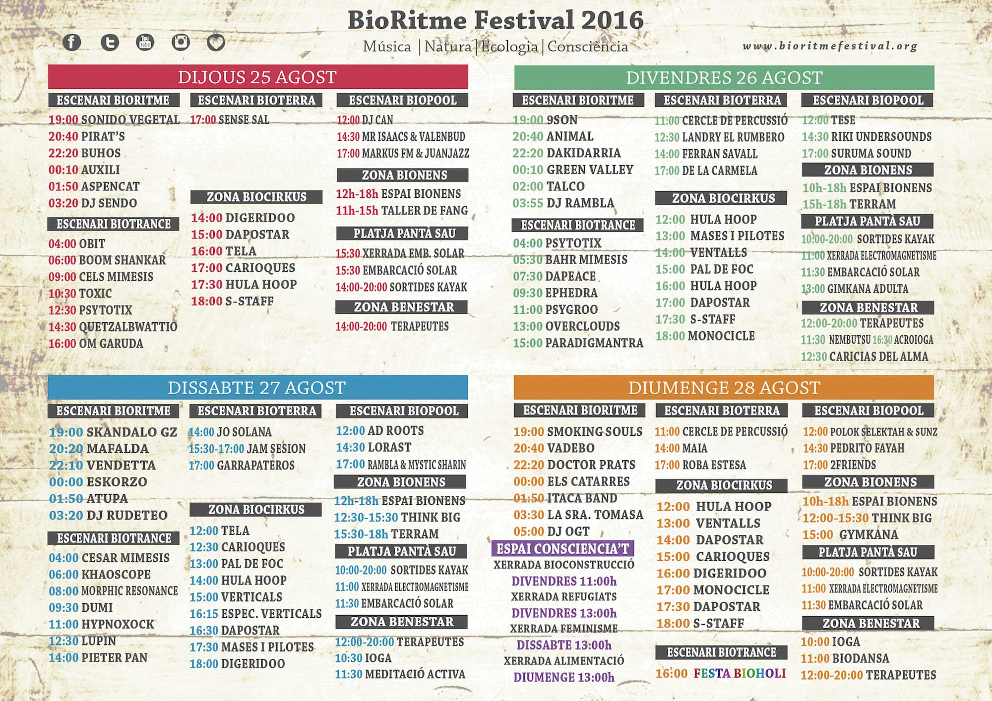 Horarios del Festival Bioritme 2016