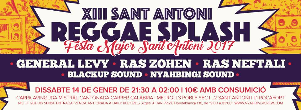 Festa Major Sant Antoni (Barcelona) 2017: Reggae i dancehall amb General Levy, Ras Zohen...